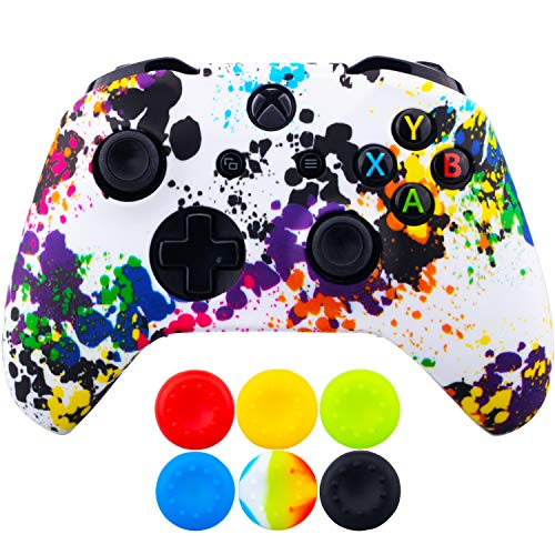 - 9CDeer 1 Piece of SiliconeTransfer Print Protective Cover Skin + 6 Thumb Grips for Xbox One/S/X Controller Graffiti