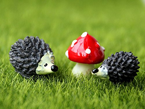 Miniature Fairy Garden Hedgehog & Mushroom Ornament Kit - Hand Painted Figurine Statues Accessories - Set of 3pcs for Home Outdoor Lawn Decor