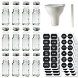 Glass Spice Jars Set of 12 Jars with Stainless Steel Lids and Chalkboard Labels