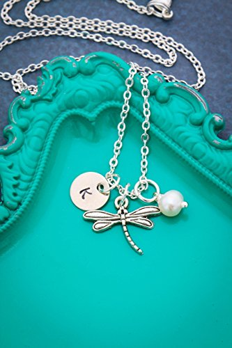 Dragonfly Necklace - DII AAA - Easter Spring Gift Silver Little Small Miniature Charm - Personalized Handstamped Winged Insect - 3/8 Inch 9MM Disc - Pearl - Ships in 1 Business Day (New 9mm Custom Charm)