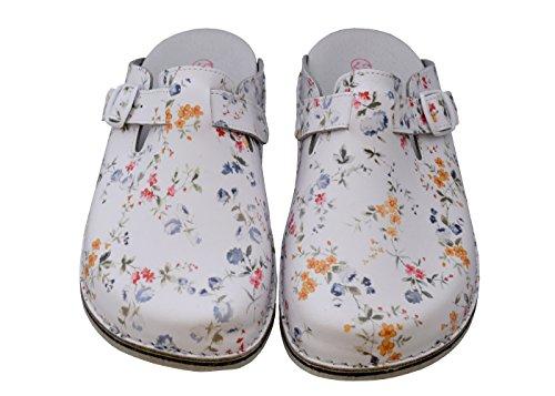 Relaxen Damen Hausschuhe Orthopädisch mit Feste Sohle Aus Leder Frühling Sommer Arbeit Schuhe Bunte Blumen