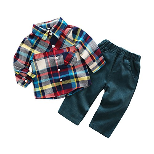 Newborn Baby Casual Suit 2pcs Cotton Long Sleeve Plaid Button-Down Shirt Pant Outfits Boys Clothes Set (6/12M) Green