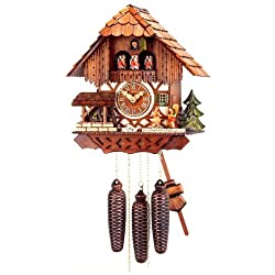 Original Eight Day Movement Special Cuckoo Clock with Turning Mill Wheel and Moving Musicians 13.5 Inch