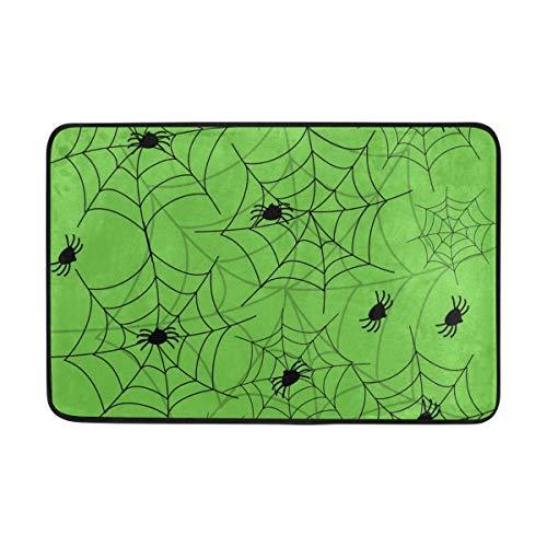 (MONTOJ Halloween Spider Green Background Entry Way Doormat Area Rugs Super Soft Living Room Bedroom Home Decoration Carpet Floormat Doormat)