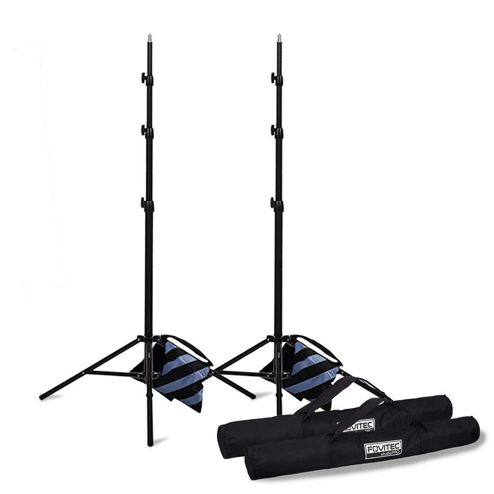 Fovitec - 2X 9'8'' Photography & Video Light Stand Kit - [for Lights, Reflectors, Modifiers][Collapsible][Spring Cushioned][Ergonomic Knobs][Bags & Sandbags Included]