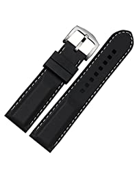 YISUYA Black 24mm Rubber Silicon Silicone Stainless Steel Pin Buckle Waterproof 2.4cm Width Wrist Watch Strap Band White Rope for Watches