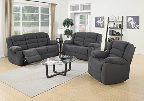 US Pride Furniture 3 Piece Grey Fabric Reclining Sofa, Loveseat & Chair Set