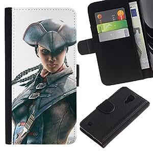 LECELL--Cuero de la tarjeta la carpeta del tirón Smartphone Slots Protección Holder For Samsung Galaxy S4 IV I9500 -- Pirata Assassin --