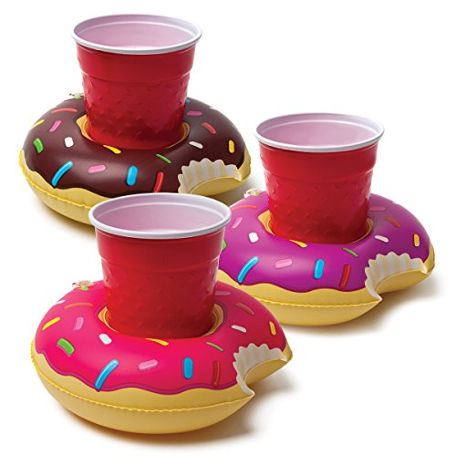 BigMouth Inc. Inflatable Donut Drink Holder Float, 3-pack,