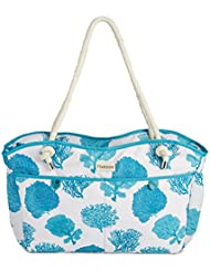 Fivesse Large 20 Waterproof Beach Bag and Tote with 8 Pockets, a Blue Coral Pattern and Waterproof Zipper