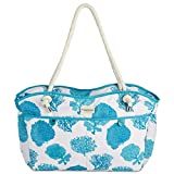 Fivesse Large 20″ Waterproof Beach Bag and Tote with 8 Pockets, a Blue Coral Pattern and Waterproof Zipper