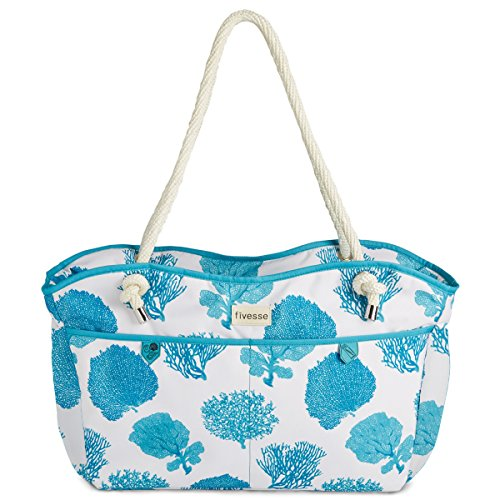 fivesse-water-resistant-beach-bag-caribbean-ocean-blue-coral-design-with-protective-pockets