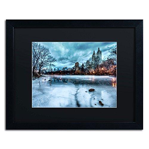Frozen Central Park Lake II Framed Art by David Ayash, 16 by 20-Inch, Black Matte with Black Frame (Park Framed Central)