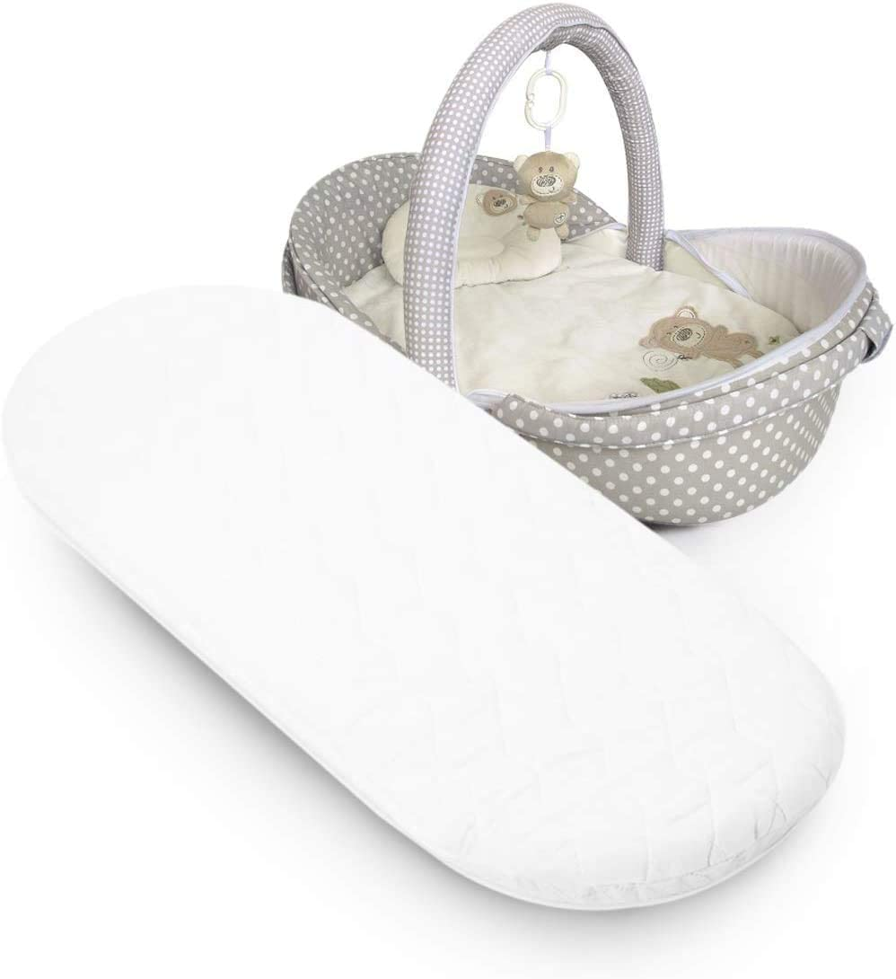 PRAM Oval Shaped Baby//Toddler Moses Basket MATTRESSES Moses Basket Foam Mattress Bassinet Baby PRAM Oval Fully Breathable Quilted 70 X 35 X 3.5 cm
