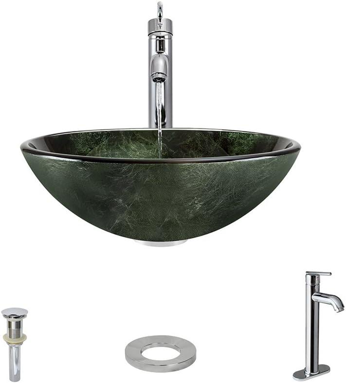 629 Chrome Bathroom 718 Vessel Faucet Ensemble Bundle – 4 Items Vessel Sink, Vessel Faucet, Pop-Up Drain, and Sink Ring