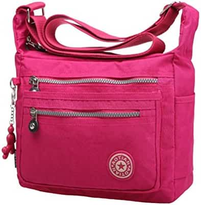 Large Shoulder Bags,Hemlock Women Girls Waterproof Nylon Pocket Bags (Hot pink)
