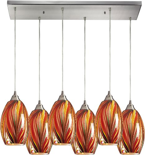Elk 517-6RC-M 30 by 9-Inch Mulinello 6-Light Pendant with Multicolor Swirled Glass Shade, Satin Nickel Finish (Glass Swirled Blown)