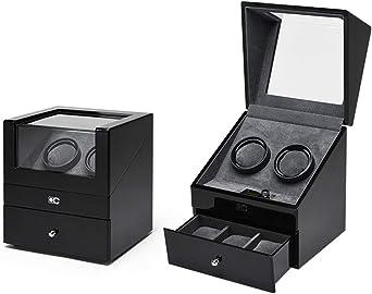 SXM Caja giratoria para Relojes automatico Watch Winder, Caja de Almacenamiento de Madera Caja de bobinado for 2 + 3 Relojes, con Caja de enrollador de Reloj de Motor silencioso (Color :