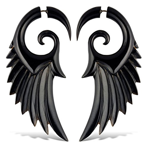 SALE! Angel Wings Horn Fake Gauges Large ()
