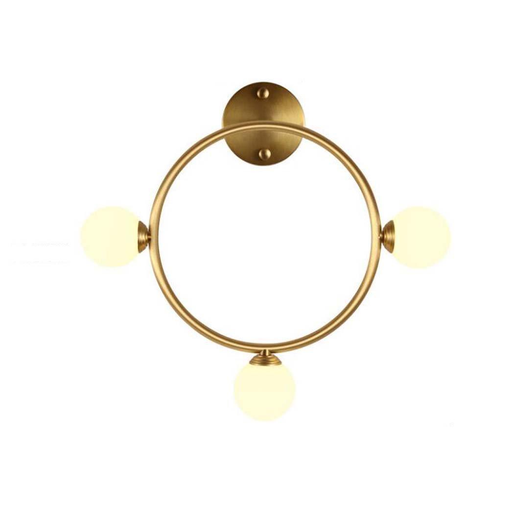 オール銅の壁面照明、北欧のポストモダンな幾何学的な3つのヘッドゴールデンウォールランプ、クリエイティブなパーソナリティデザイナーリビングルームの背景壁ランプ、ミルクホワイトガラスのランプシェード (色 : C) B07DM2KSQV 20631 C C