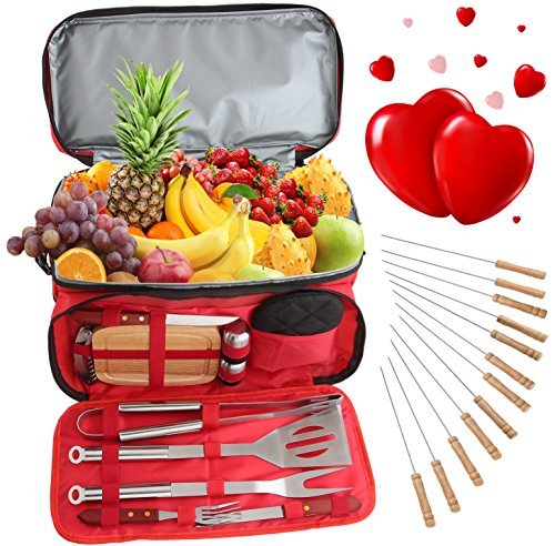 ROMANTICIST Valentines Day Gift for Him Her - 24Pc Stainless Steel BBQ Grill Tool Set with 15 Can Water Proof Insulated Cooler Bag - Outdoor Barbecue Grill Accessories Set for Camping Trips Tailgating