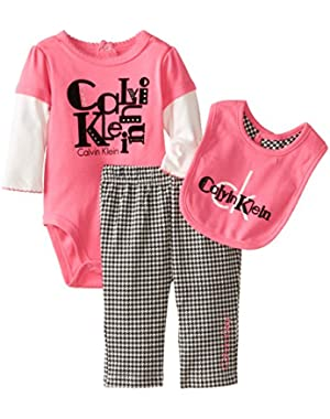 Baby-Girls Twofer Bodysuit with Pants and Bib