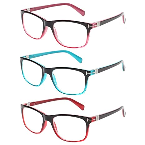 56fcde2734d2 Kerecsen 3 Pack Fashion Reading Glasses for Men and Women Quality Spring  Hinges Colorful Readers (2.5