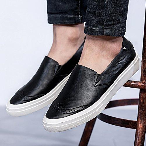 Minitoo Boys Mens Wingtip Slip-On Casual Street Loafers Black