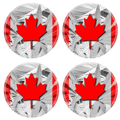 MSD Round Coasters Non-Slip Natural Rubber Desk Coasters design 37089788 Canada Flag on cannabis background policy Legalization of - Flag Coaster Canada