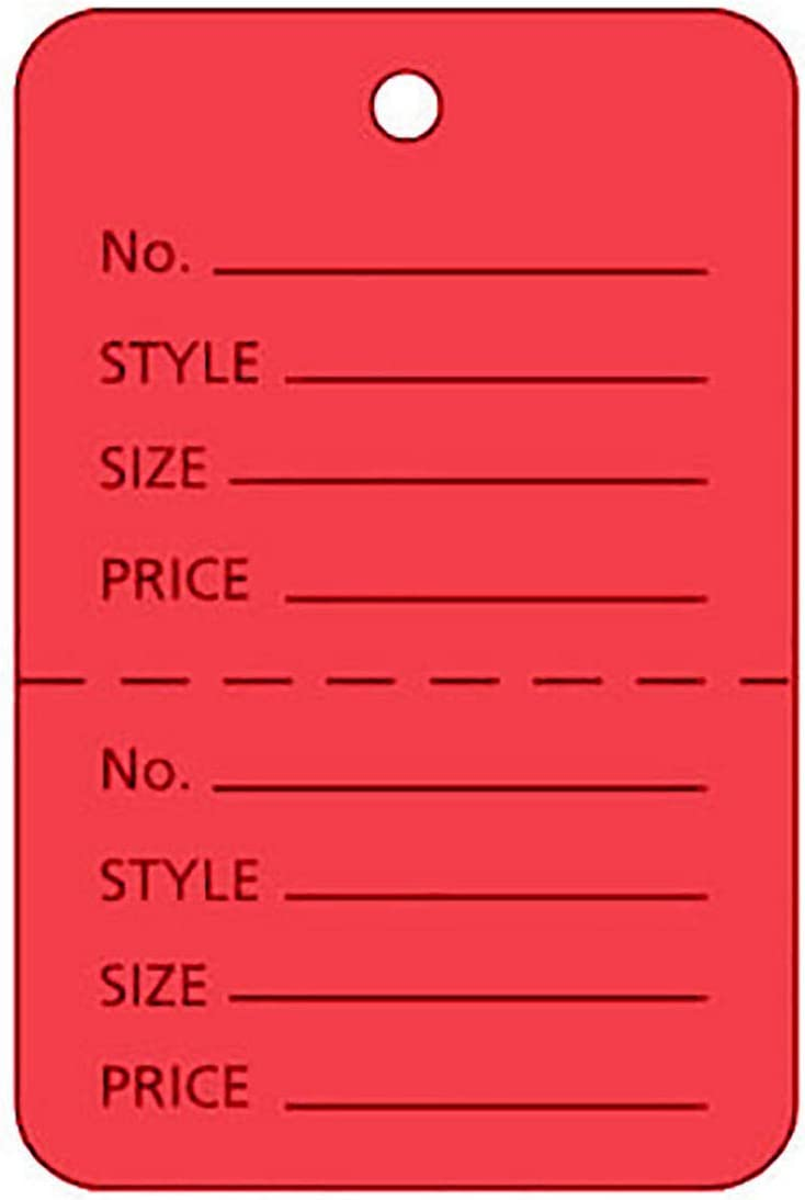 """1000 Perforated Tags Price Sale 1 /¼ x 1 ⅞/"""" Two Part Red Unstrung Tag Small"""