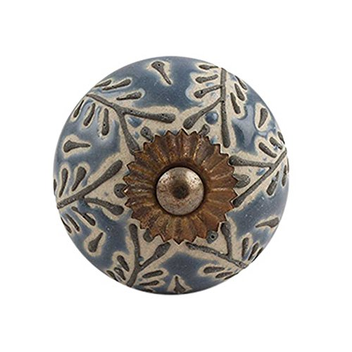 - IndianShelf Handmade 6 Piece Ceramic Grey Leaf Embossed Artistic Rust Free Decorative Knobs Drawers Dresser Pulls Cabinet Handle