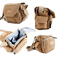 DURAGADGET Light Brown Medium Sized Canvas Carry Bag for Samsung HMX-Q20 / HMX-QF30 / HMX-H300 Full HD Camcorder - With Multiple Pockets, Customizable Interior Storage Compartment