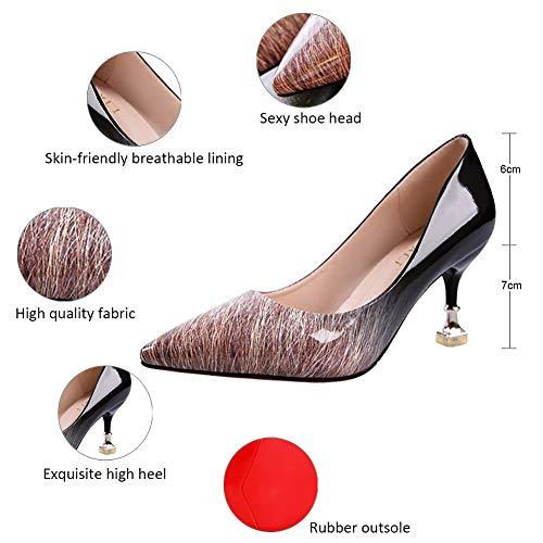 Tacon Zapatos Mujer Mujer Negro marrón Qimaoo Tacon Fiesta Zapatos wXBPq76P