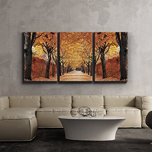Print Contemporary Art Wall Decor Yellow leaved trees line autumn lane Giclee Artwork Gallery ped Wood Stretcher Bars x3 Panels