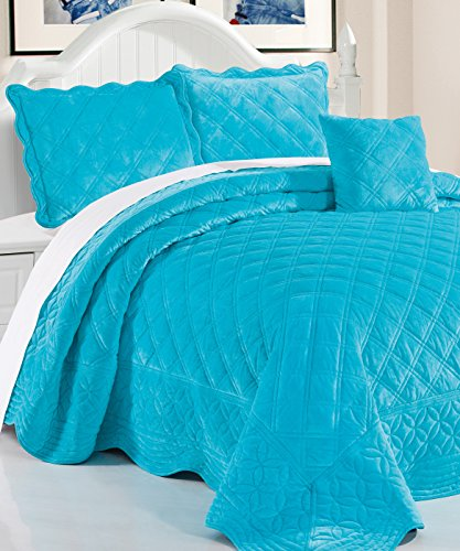 Serenta Super Soft Microplush Quilted 4 Piece Bedspread Set, Queen, Scuba Blue (Pillow Accent Quilted)