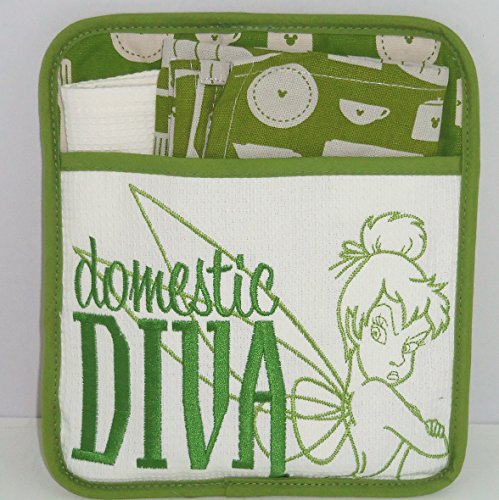 Disney Tinker Bell Domestic Diva Potholder Dish Towel Cloth Theme Parks