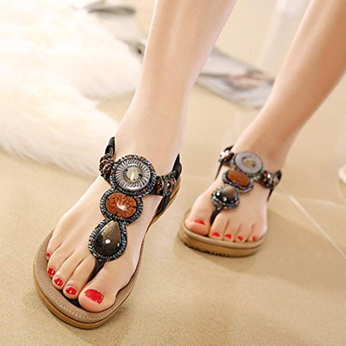 Mujer Sandal zapatos zjenee Bohemia negro playa de Flat verano 7wqBd