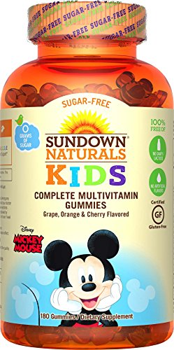 Sundown Naturals Kids Disney Mickey Mouse Sugar-Free Complete Multivitamin, 180 Count by Sundown Naturals Kids