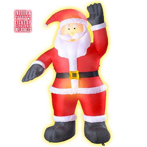 Père Noël lumineux décoration gonflable pour l'intérieur et l'extérieur 244 cm Saint Nicolas déco fêtes de fin d'année avent