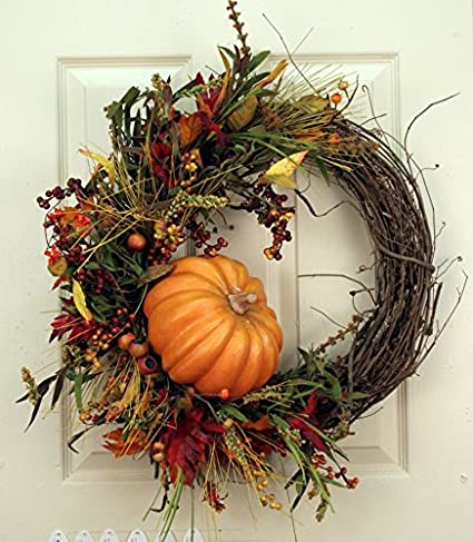 Pumpkin Harvest Silk Fall Door Wreath 22 in