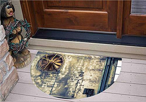 3D Semicircle Floor Stickers Personalized Floor Wall Sticker Decals,Wall Image Destruction Vandalism Broken Deserted,Kitchen Bathroom Tile Sticker Living Room Bedroom Kids Room Decor Art Mural D47.2