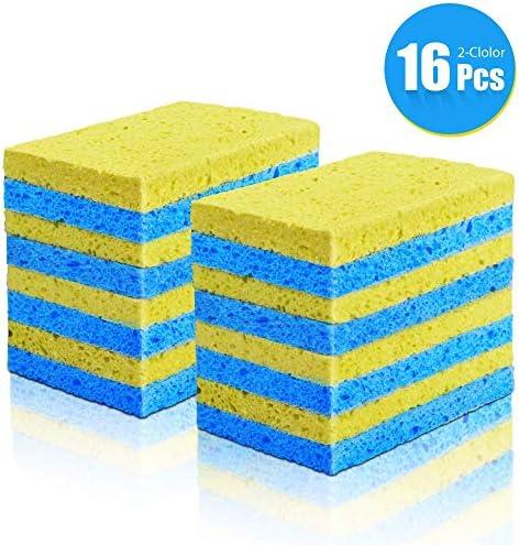 清潔なスクラブスポンジセルロースの多目的で非スクラッチ、キッチンの食器洗い用スポンジで使用16パック-青と黄色