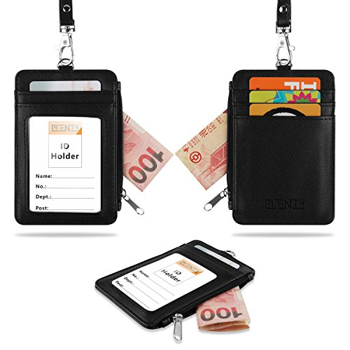 PLENTY PU Leather ID Badge Holder with Neck Lanyard, 1 ID Window, 4 Slim Credit Card Holder, 1 Side Zipper Pocket Wallet Purse, Vertical Style - Black