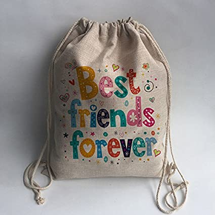 2b74ef90e9 NO1   best friend forever Print Custom Vintage Outdoor Beach Gym Swimming  Clothing Shoes Storage Bag Drawstring Backpack  Amazon.in  Home   Kitchen
