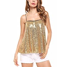 Meaneor Women's Sparkly Sequin Spaghetti Strap Cami Shimmer Tank Top Blouse