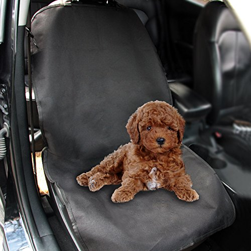 TIROL Waterproof Car Single Front Seat Protector Pet Seat Cover for Dog Pet Black