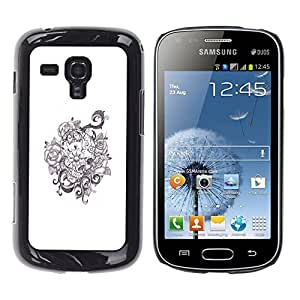 Ihec Tech Guirnalda floral Flores blancas negras / Funda Case back Cover guard / for Samsung Galaxy S Duos S7562
