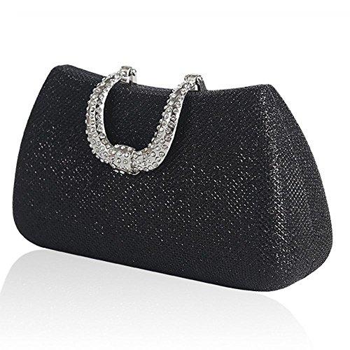 X NVBAO £¨18 Handbag 10cm£© Rhinestone Cosmetic Evening Bag Black Prom Wedding Bridal Mini Womens Clutch£¬ wq74wSg