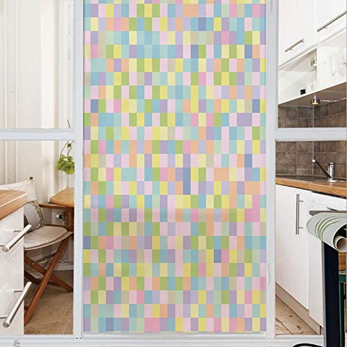 Decorative Window Film,No Glue Frosted Privacy Film,Stained Glass Door Film,Colorful Squares Pattern Checkered Mosaic Style Mottled Cubical Tile Grid Print,for Home & Office,23.6In. by 59In Multicolor