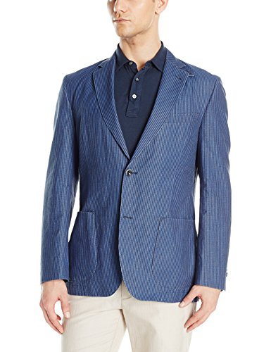 Kroon Men's Bono 2 Double Face Washed Cotton and Linen Italian Fabric, Blue, 44 Regular
